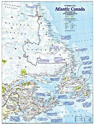 Canada, Atlantic Provinces, Political WALL Map.