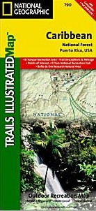 Caribbean National Forest, Road and Recreation Map, America.
