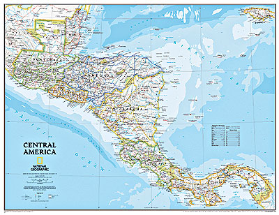 Central America Political WALL Map.