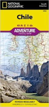 Chile Adventure Road and Tourist Map.
