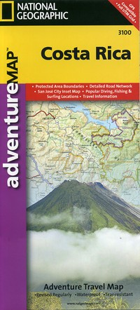 Costa Rica Road and Physical Tourist Map.