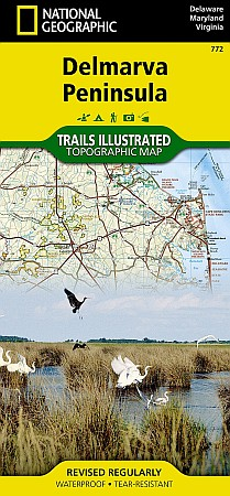 Delmarva Peninsula Recreation Road and Tourist Map, America.