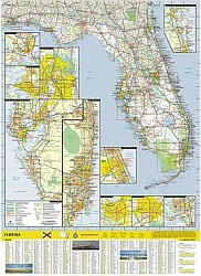 Florida Road and Physical Tourist Guide map.