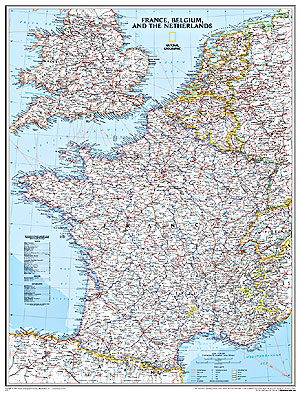 France, Belgium and Netherlands Political WALL Map.