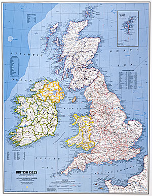 Great Britain and Ireland Political WALL Map.