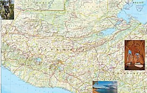 Guatemala Adventure Road and Tourist Map.