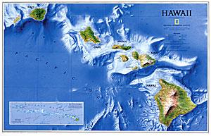 Hawaiian Islands WALL Map.