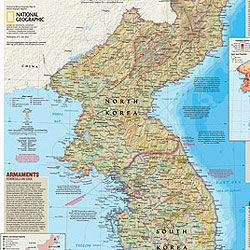 Korea, North and South Political WALL Map.