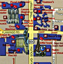 "LAS VEGAS ""Destination"" map Las Vegas, America."