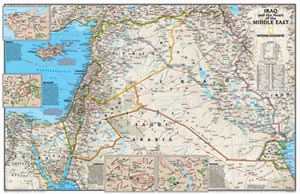 Middle East and Iraq Political WALL Map.