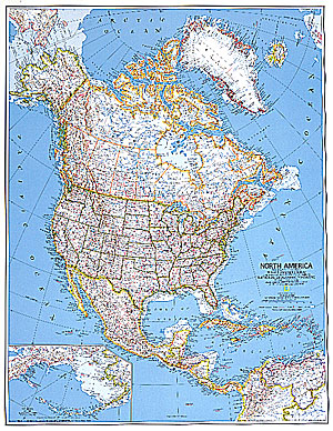 North America Political WALL Map.