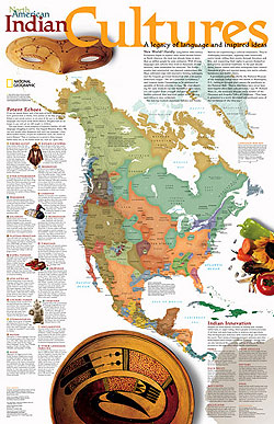 North American Indian Cultures WALL Map.