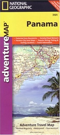"""Panama Road and Shaded Relief """"Adventure"""" Map."""