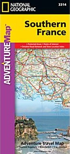 France Southern Adventure, Road and Tourist Map.