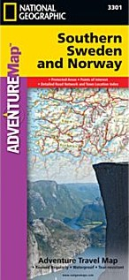 Southern Norway and Sweden Adventure Road and Tourist Map.