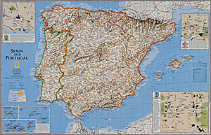 Spain and Portugal WALL Map.