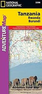 Tanzania, Rwanda, Burundi Adventure Road and Tourist Map.