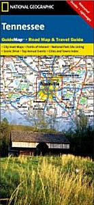 Tennessee Road and Physical Tourist Guide map.