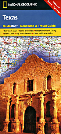 Texas Road and Physical Tourist Guide map.