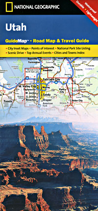 Utah Road and Physical Tourist Guide map.