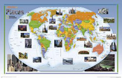 """""""World of Places"""" Political WALL Map."""