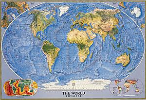 World Physical Ocean Floor WALL Map.