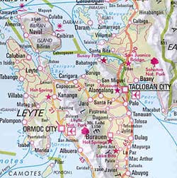 Philippines Road and Shaded Relief Tourist Map.
