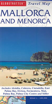 Mallorca and Menorca Road and Physical Tourist Map, Balearic Isles, Spain.