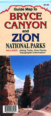 Bryce Canyon and Zion National Park, Road and Recreation Map, Utah, America.