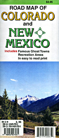 Colorado and New Mexico Road and Tourist Map, America.