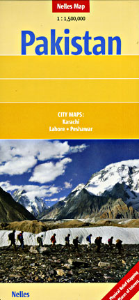 Pakistan Road and Shaded Relief Tourist Map.