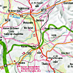 Tunisia Road and Shaded Relief Tourist Map.