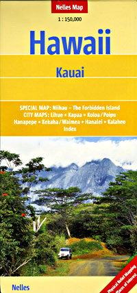 Kauai Road and Shaded Relief Tourist Map, Hawaii, America.