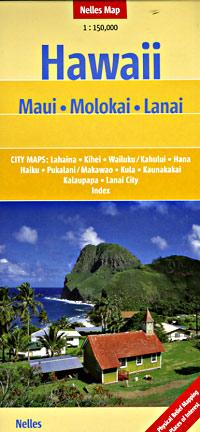 Molokai, Maui, and Lanai, Road and Tourist Map, Hawaii, America.