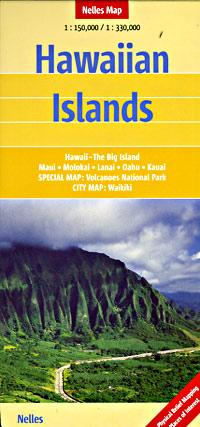 Hawaiian Islands Road and Shaded Relief Tourist Map, America.