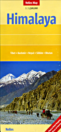 Himalayan Mountains, Road and Shaded Relief Tourist Map.