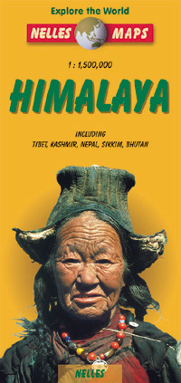 """""""Himalaya"""" Tibet, Nepal, Sikkim, and Bhutan, Road and Shaded Relief Tourist Map."""