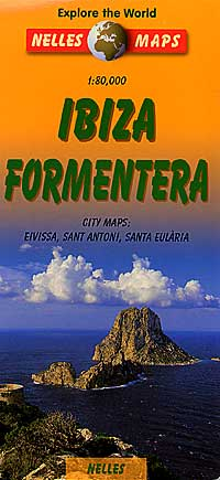 Ibiza and Formentera, Road and Shaded Relief Tourist Map, Balearic Isles, Spain.