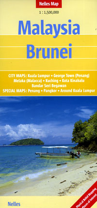 Malaysia and Brunei, Road and Shaded Relief Tourist Map.