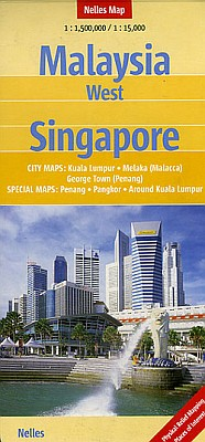 Malaysia (Western): Peninsular Malaysia, Road and Shaded Relief Tourist Map.
