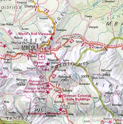 Rwanda, Burundi, and Tanzania, Road and Shaded Relief Tourist Map.