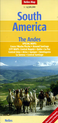 """South America """"The Andes"""" Countries, Road and Shaded Relief Tourist Map."""