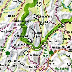 Thailand Road and Shaded Relief Tourist Map.
