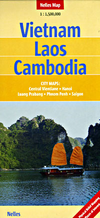 Vietnam, Laos, and Cambodia, Road and Shaded Relief Tourist Map.
