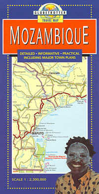 Mozambique Road and Shaded Relief Tourist Map.