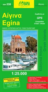 Aegina, Road and Hiking Tourist Map, Greece.