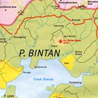 Bintan Islands, Road and Tourist Map, Indonesia.