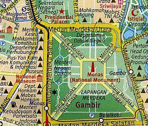 Indonesia and Java, Road and Tourist Map.