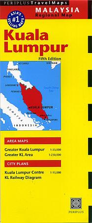 KUALA LUMPUR and Environs, Road and Tourist Map, Malaysia.