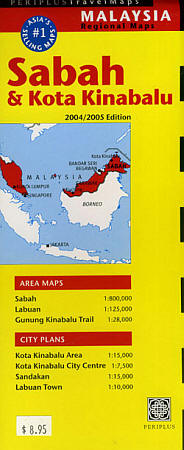 Sabah State, Road and Tourist Map, Malaysia.